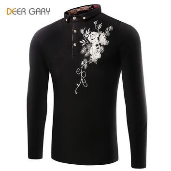 2016 Men's New Embroidered Long-sleeved Shirt Hot Selling Cotton Solid Color POLO Shir