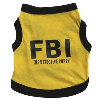 Lovely FBI Letter Print Dog Puppy Pets Vests Clothes = 1929614020