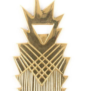 Brass Geometric Pineapple Bottle Opener