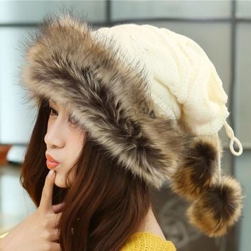 Fashion Winter Hat Women Fur Cap Warm Plus Velvet Dual