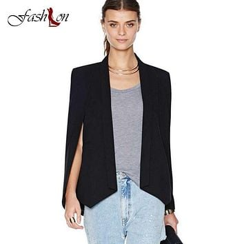 XS-3XL Plus Size 2017 Women Fashion White&Black Lapel Split Long Sleeve Pockets Casual Blazer Cape Suit Workwear Jacket Cardigan