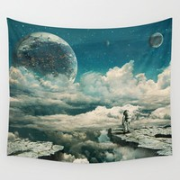 Cloudy Moon Landing Astronaut Tapestry Polyester Wall Art