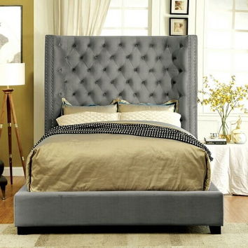 Mirabelle collection gray fabric upholstered and tufted tall queen headboard bed frame set