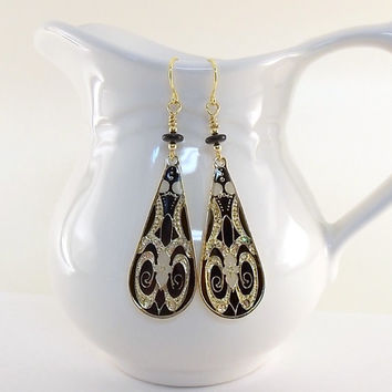 Earrings Large Black and Gold Teardrops
