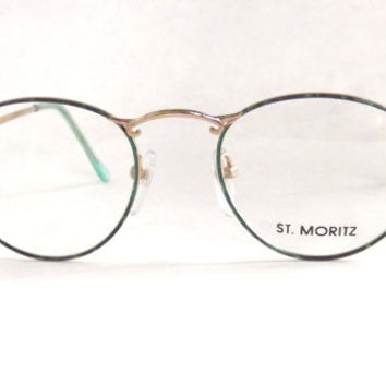 Womens Round Eyeglasses in Green and Blue Tortoise Shell, Preppy Iridescent Oval Round Gold Metal Frames, Vintage Eyewear