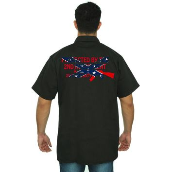 Men's Confederate Rebel Flag Mechanic Work Shirt Protected By The 2nd Amendment