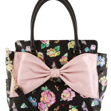 Betsey Johnson Lattice Bow Satchel Shoulder Bag
