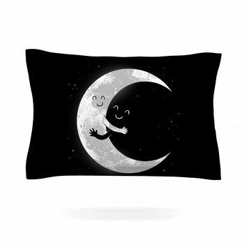 "Digital Carbine ""Moon Hug"" Black White Pillow Sham"
