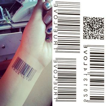 Tattoo Sticker  Water Transfer BarCode Waterproof Temporary  10.5x6cm