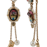 VINTAGE KITTY CAMEO LINEAR EARRING