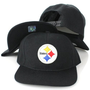 NFL Teams Embroidered Logo Style Flat Bill Snapback Hat Cap (One Size, Pittsburgh Steelers)
