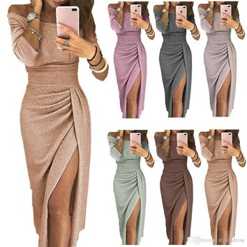 Women Pencil Dress Off the Shoulder Slash Neck 3/4 Sleeve Split Glittering Long Club Prom Party Dress