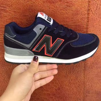 Fashionable New Balance Women/Men comfortable leisure sports shoes Navy blue black(Black red N)