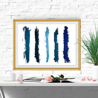 Navy blue abstract wall art Abstract print Large Abstract printable Watercolor brush stroke art Minimalist art Stripe art INSTANT DOWNLOAD