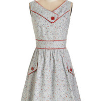 ModCloth Vintage Inspired Mid-length Sleeveless A-line Places to Go, People to See Dress in Floral