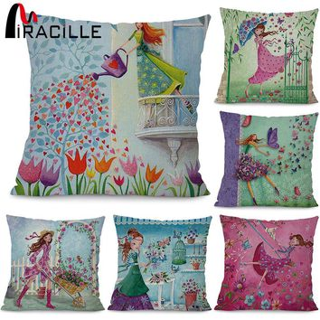 """Miracille Square 18""""  Flowers Girls Printed Cartoon Sofa Throw Cushions Butterfly Living Room Decorative Pillows Without Filling"""
