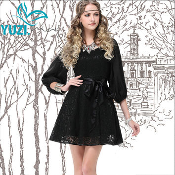 2017 Summer New Yuzi Vintage Vintage Black Lace Dress O-Neck Lantern Sleeve Three Quarter Sleeve Women Dresses A6513 Vestidos