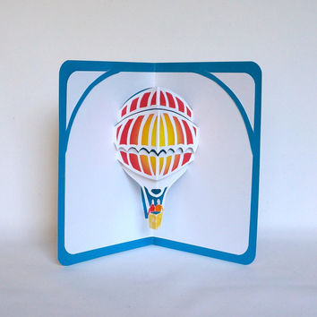 HOT AIR BALOON 3D Pop Up Greeting Card  Save The Date Home Décor Cut by Hand Origamic Architecture in White Turquoise Yellow Orange Red OOaK