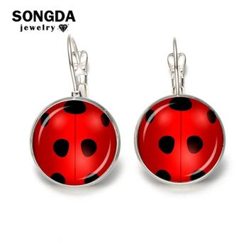 SONGDA Newest Design Miraculous Ladybug Hook Earrings Cosplay Ludy Bug Time Gem Insect Animal Earings for Women Anime Trinkets