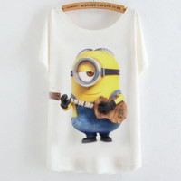 Fashion white Cartoon little yellow people print tee T-shirt top