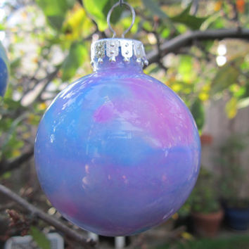Hot Pink and Aqua Blue hand painted Glass Bauble, glow in the dark, Spring decoration with ice blue glow pigment