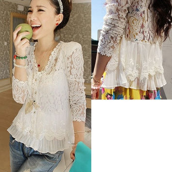 Cheap Women Lady Long Sleeve Floral Lace Crochet Coat Cardigan Tops Shirt Blouse D_L = 1712401540