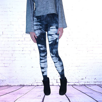 Womens Tie Dye Leggings Shibori Black and White Hand Dyed printed yoga leggings pants fall fashion