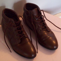 Size 65 Brown leather Granny boots by cashmerevintage on Etsy