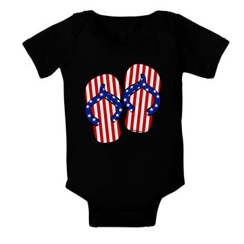 Stars and Stripes Flip Flops Baby Bodysuit Dark