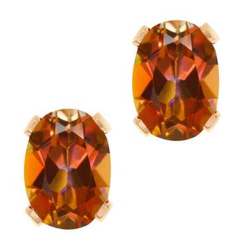 1.90 Ct Oval Shape Ecstasy Mystic Topaz Rose Gold Plated Brass Stud Earrings