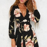Floral Black VNeck Skater Dress
