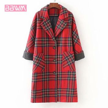 Exquisite women's 2018 winter new hit color plaid woolen coat in the long loose casual women's jacket  Single-breasted lapel red