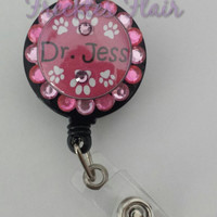 Veterinarian gifts, vet tech badge, pet lover badge reel, Paw print id badge, work id holder, pink Paw print, sparkle badge reel