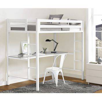 Bentley Twin Metal Loft Bed with Workstation - White