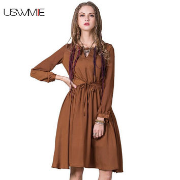 2017 Spring Waistband Retro Lantern Sleeve Dress Women Solid Color Hollow Out O-neck Simple Giant Swing Brown Vestidos B9205
