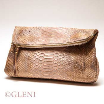 GLENI MULTI FUNCTIONAL CLUTCH IN PYTHON LEATHER