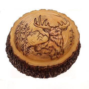 Animal Carved Wood Box Trinket Box