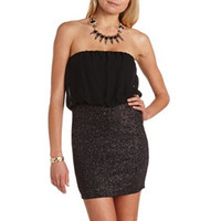 GLITTER 2-FER BODY-CON DRESS