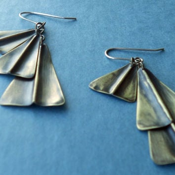 Triangle Cluster Earrings Fold Formed Brass by ErinAustin on Etsy