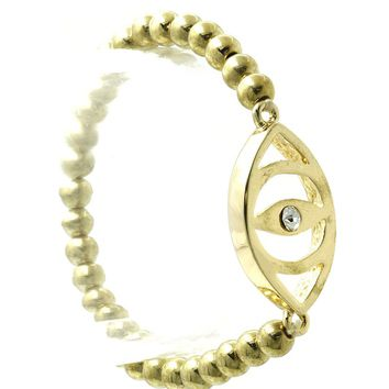 Gold Metal Evil Eye Metallic Bead Stretch Bracelet