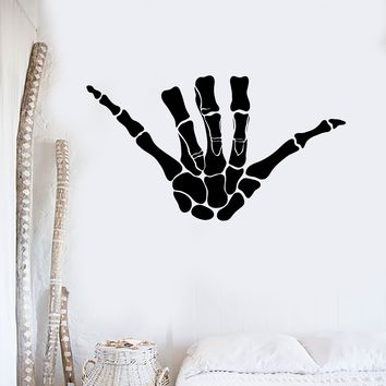 Vinyl Wall Decal Shaka Skeleton Hand Bones Surfing Surfer Art Decor Stickers Mural Unique Gift (ig5125)