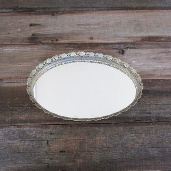 Vintage Mirror Vanity Mirror Gold Oval Dresser Tray Vintage Gold Mirror Tray Vintage Wedding Centerpieces Wedding Decor