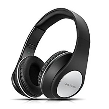 Jpodream Bluetooth Headphones Over Ear, Wireless Stereo Deep Bass Headset with Microphone, Foldable, Lightweight and Wired Mode for PC, Cellphone, TV and Traveling - Black [New Upgrade]