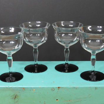 4 Weston Crystal Champagne Tall Sherbet Glasses . Clear with Black Foot and Diamond Optic . Circa 1920s . Art Deco Style Stemware . Wine