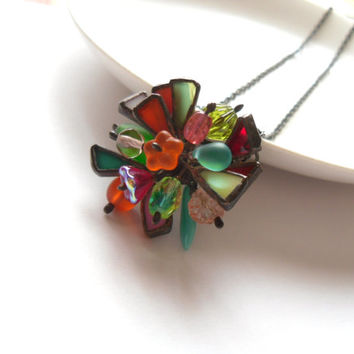 Contemporary jewelry, rainbow necklace, stained glass pendant, glass beaded necklace, funky jewelry, hipster style, artistic pendant