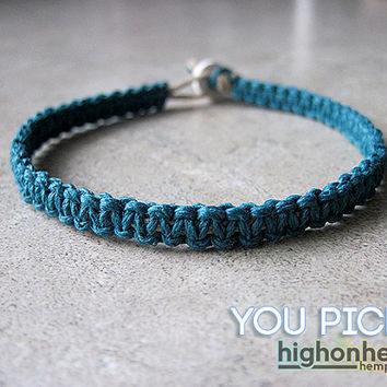 Minimalist Bracelet, Macrame Bracelet, Hemp Bracelet, Custom Bracelet - You Choose the Color