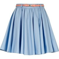 light blue skater skirt - mini skirts - skirts - women - River Island
