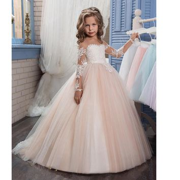 2017 Beautiful Pageant dresses Cap Sleeves New Light Pink White little girl party Gown Lace Ball Gown Flower Girl Dress