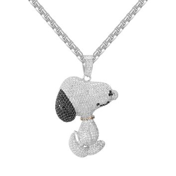 """Designer Iced Out 14k White Gold Finish Charlie Snoopy Dog Pendant with 24"""" Free Box Chain"""