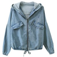 Hooded Denim Coat with Long Batwing Sleeves